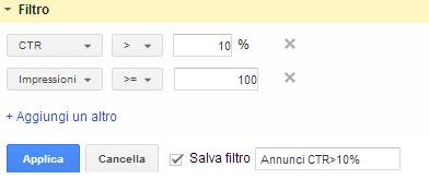 filtro annunci per ctr