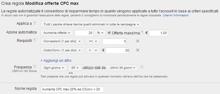 regole automatizzate adwords incremento cpc